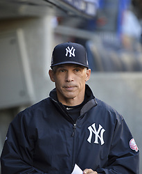 October 18, 2017 - Bronx, NY, USA - New York Yankees manager Joe Girardi in the dugout before the start of action against the Houston Astros in Game 5 of the American League Championship Series at Yankee Stadium in New York on Wednesday, Oct. 18, 2017. (Credit Image: © Howard Simmons/TNS via ZUMA Wire)