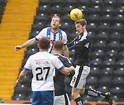 Dundee&rsquo;s Kevin Holt wins a header despite the challenge of Kilmarnock&rsquo;s Rory McKenzie - Kilmarnock v Dundee, Ladbrokes Premiership at Rugby Park<br /> <br />  - &copy; David Young - www.davidyoungphoto.co.uk - email: davidyoungphoto@gmail.com