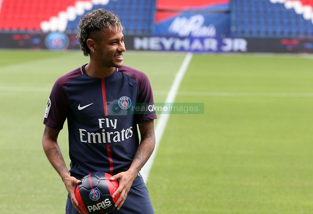 Neymar pitchside after a press conference at the Parc des Princes, following his world record breaking £200million transfer from FC Barcelona to Paris Saint Germain.