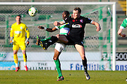 Yeovil Town's Nathan Smith and Carlisle Utd's Charlie Wyke during the Sky Bet League 2 match between Yeovil Town and Carlisle United at Huish Park, Yeovil, England on 25 March 2016. Photo by Graham Hunt.
