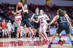 NORMAL, IL - February 27: Abby Hipp grabs the rebound in the middle of the paint during a college women's basketball game between the ISU Redbirds and the Bears of Missouri State February 27 2020 at Redbird Arena in Normal, IL. (Photo by Alan Look)