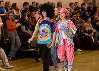 Retro fashion show at Belmont Middle School as part of Winter Carnival festivities February 19, 2010.