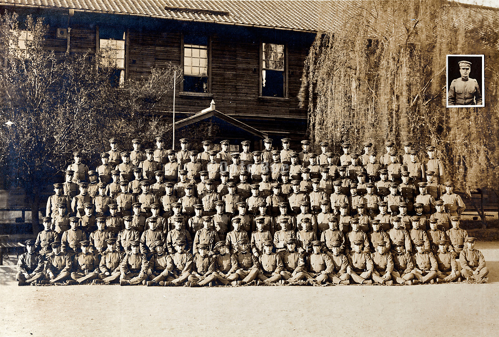 1921 formal photograph of a large group Japanese soldiers