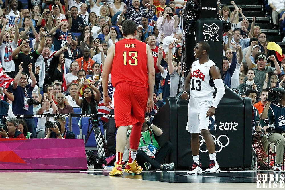 12 August 2012: USA Chris Paul reacts during 107-100 Team USA victory over Team Spain, during the men's Gold Medal Game, at the North Greenwich Arena, in London, Great Britain.