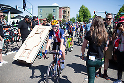 Skylar Schneider (USA) of USA Cycling National Team rides to the start line Stage 1 of the Amgen Tour of California - a 124 km road race, starting and finishing in Elk Grove on May 17, 2018, in California, United States. (Photo by Balint Hamvas/Velofocus.com)