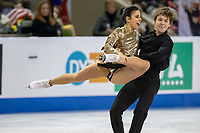 KELOWNA, BC - OCTOBER 25:  Spanish ice dancers Sara Hurtado and Kirill Khaliavin perform during the rhythm dance at Skate Canada International held at Prospera Place on October 25, 2019 in Kelowna, Canada. (Photo by Marissa Baecker/Shoot the Breeze)
