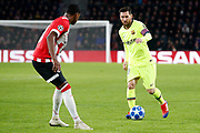 PSV player Denzel Dumfries (l) and Barcelona player Lionel Messi (r) during the UEFA Champions League, Group B football match between PSV Eindhoven and FC Barcelona on November 28, 2018 at Philips Stadium in Eindhoven, Netherlands - Photo Joep Leenen / Pro Shots / ProSportsImages / DPPI