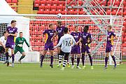 Jordan Cranston scores with his free kick during the Vanarama National League match between Gateshead and Cheltenham Town at Gateshead International Stadium, Gateshead, United Kingdom on 10 October 2015. Photo by Antony Thompson.