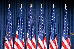American flags for the decor on stage at a Donald Trump campaign event in Philadelphia, PA.