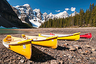 Canoes at Moraine Lake, Banff National Park, Alberta, Canada