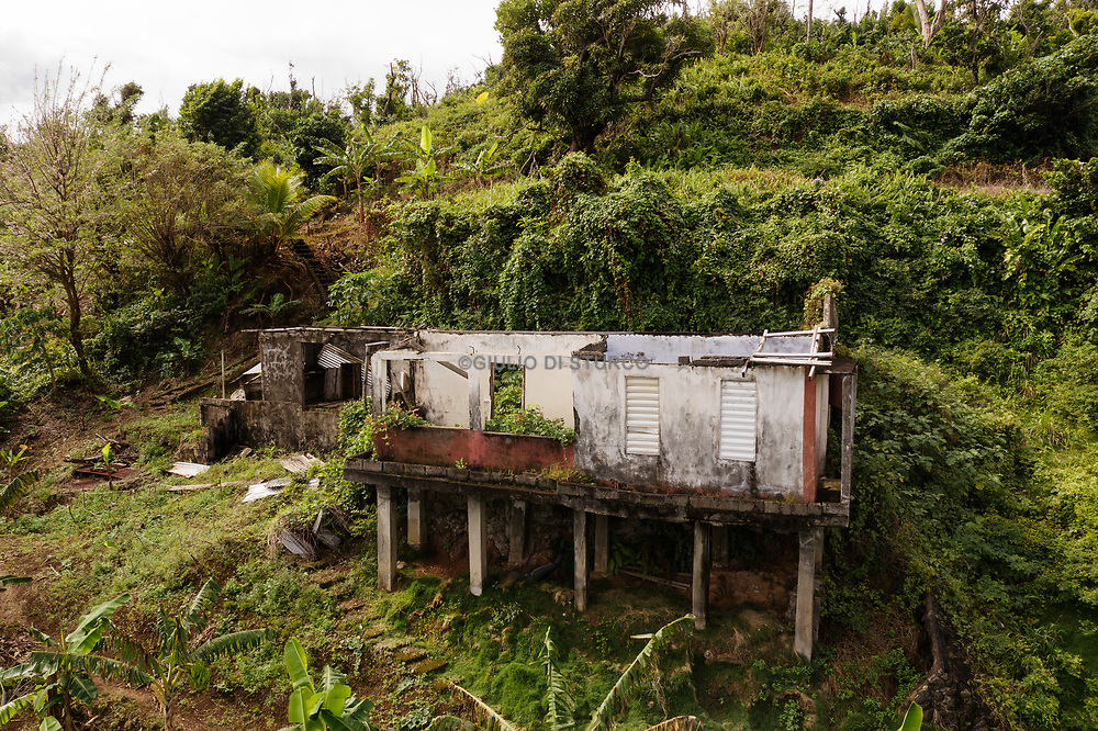 Edward Thomas, miraculous of Hurricane Maria, in the remains of his house