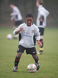 CARDIFF, WALES - Thursday, March 15, 2012: Wales U16's Nyasha Mwamuka (Shrewsbury Town FC & Ysgol Uwchraddllanfair Caerinion) during a training session at the Glamorgan Sports Park. (Pic by David Rawcliffe/Propaganda)