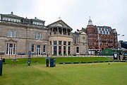 The Old Course Clubhouse and first tee ahead of the final round of the Alfred Dunhill Links Championships 2018 at West Sands, St Andrews, Scotland on 7 October 2018