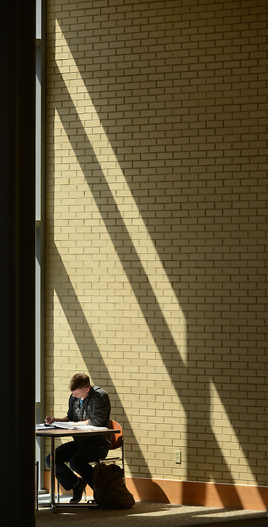 A student studies in a quiet corner on the aecond floor of Cartwright Hall ad the sun streams through the windows.