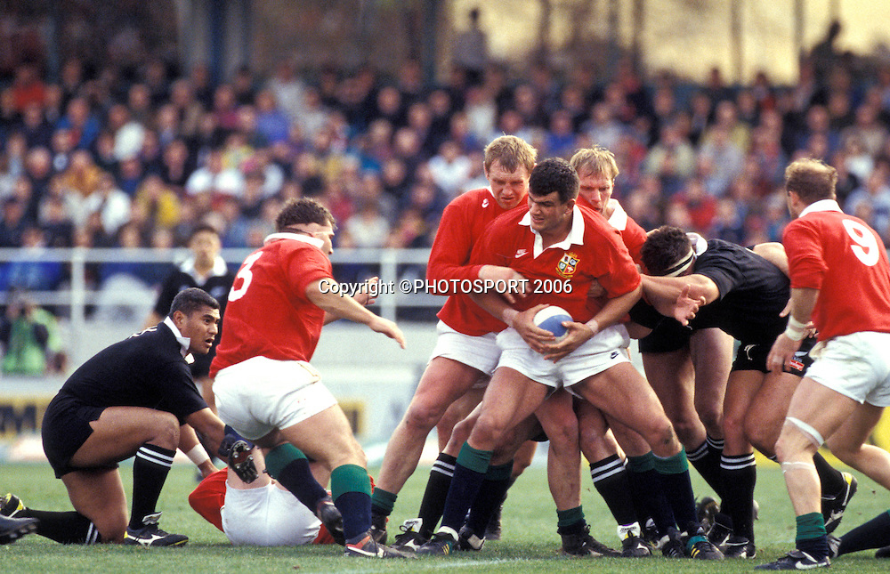 Lions lock Martin Johnson in action at the 3rd international rugby union test between the All Blacks and British and Irish Lions at Eden Park, Auckland New Zealand, on Saturday 3 July 1993. The All Blacks won the match 30-13. Photo: Bruce Jarvis/PHOTOSPORT<br /><br /><br />030793