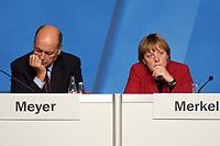 15 OCT 2003, BERLIN/GERMANY:<br /> Laurenz Meyer (L), CDU Generalsekretaer, und Angela Merkel (R), CDU Bundesvorsitzende, CDU Regionalkonferenz zur Diskussion der  Ergebnisse der Herzog-Kommission, Hotel Estrell<br /> IMAGE: 20031015-04-056