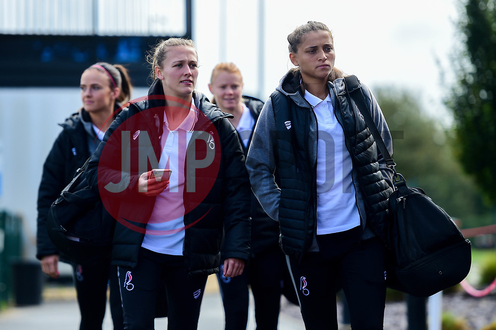 Charlie Wellings of Bristol City, Abi Harrison of Bristol City arrives at SGS College Stoke Gifford Stadium prior to kick off - Mandatory by-line: Ryan Hiscott/JMP - 29/09/2019 - FOOTBALL - SGS College Stoke Gifford Stadium - Bristol, England - Bristol City Women v Chelsea Women - FA Women's Super League