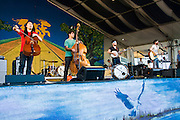 The Avett Brothers perform at the New Orleans Jazz and Heritage Festival in New Orleans, Louisiana, April 29, 2011.