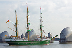 © Licensed to London News Pictures. 15/05/2016. Stunning German sail training ship Alexander Von Humboldt II makes her way down the Thames after a weekend in London. The distinctive ship is known for her green hull, yellow masts and green sails. The 65-metre long ship was launched in 2011 as a successor to an earlier tall ship of the same name and cost €15 million to build. Credit: Rob Powell/LNP