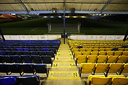 General stadium view inside Roots Hall, showing seating, before the EFL Trophy match between Southend United and AFC Wimbledon at Roots Hall, Southend, England on 13 November 2019.