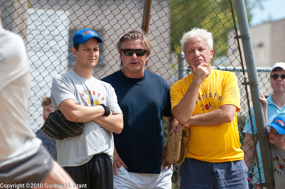 East Hampton, NY - 8/14/10 -   Josh Charles, Alec Baldwin and Mark Green at the annual Artist & Writers Charity Softball game at Herrick Park in East Hampton, NY August 14, 2010. CREDIT: Gordon M. Grant for The Wall Street Journal.nysoftball