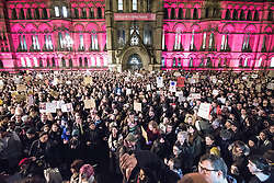 © Licensed to London News Pictures . 30/01/2017 . Manchester , UK . Thousands of people attend a rally and march against America's Muslim travel ban , the UK's alignment with the Donald Trump administration and a possible State visit to the UK by Donald Trump - outside Manchester Town Hall , in Albert Square , and through central Manchester . Photo credit : Joel Goodman/LNP