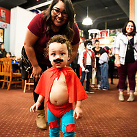Jackson Cusey, 18 months, dressed as Nacho Libre at a costume contest at Sammy C's Rockin Sports Pub & Grille on Halloween.