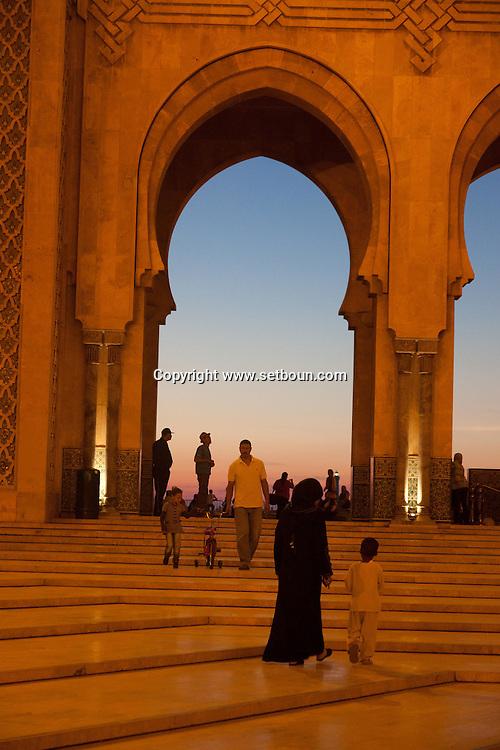 Morocco, casablanca,  Hassan II mosque on the corniche,