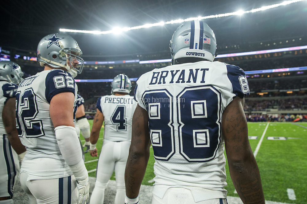 Dec 1, 2016; Minneapolis, MN, USA; Dallas Cowboys wide receiver Dez Bryant (88) during a game between the Dallas Cowboys and Minnesota Vikings at U.S. Bank Stadium. The Cowboys defeated the Vikings 17-15. Mandatory Credit: Brace Hemmelgarn-USA TODAY Sports