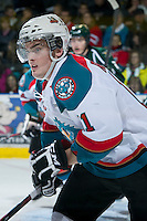 KELOWNA, CANADA - DECEMBER 30:  Carter Rigby #11 of the Kelowna Rockets skates on the ice against the Everett Silvertips at the Kelowna Rockets on December 30, 2012 at Prospera Place in Kelowna, British Columbia, Canada (Photo by Marissa Baecker/Shoot the Breeze) *** Local Caption ***