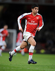 Eduardo of Arsenal in action during the FA Cup 4th Round Replay between Arsenal and Cardiff City at the Emirates Stadium on February 16, 2009 in London, England.