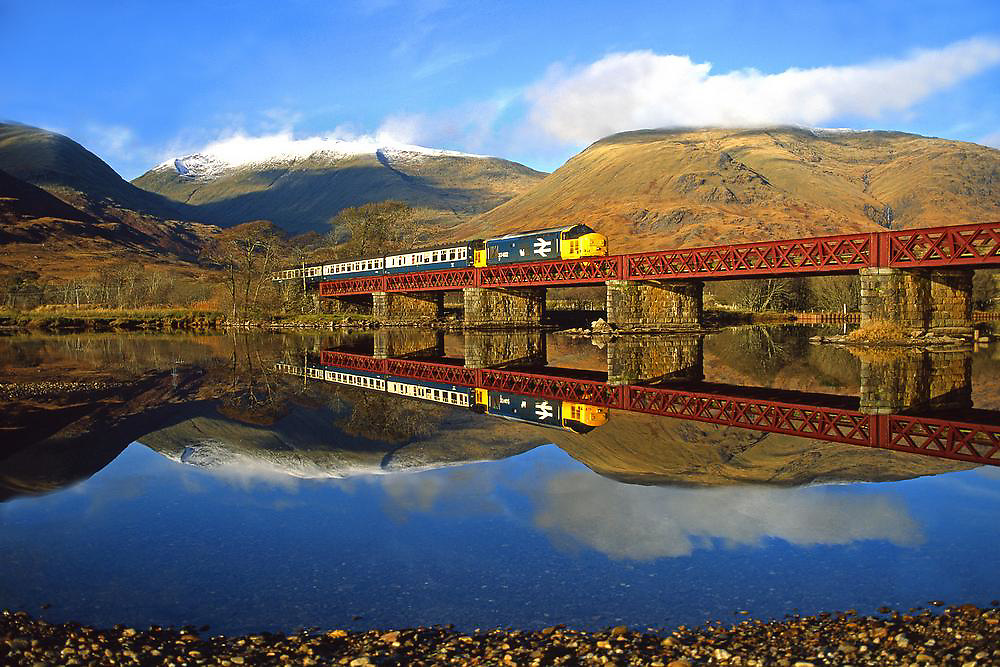 Class 37 crosses Loch Awe on its way to Glasgow, 1980s