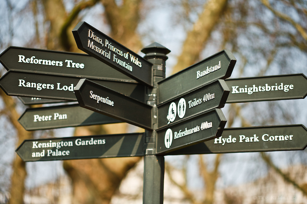 Signpost in Hyde Park, London, England.