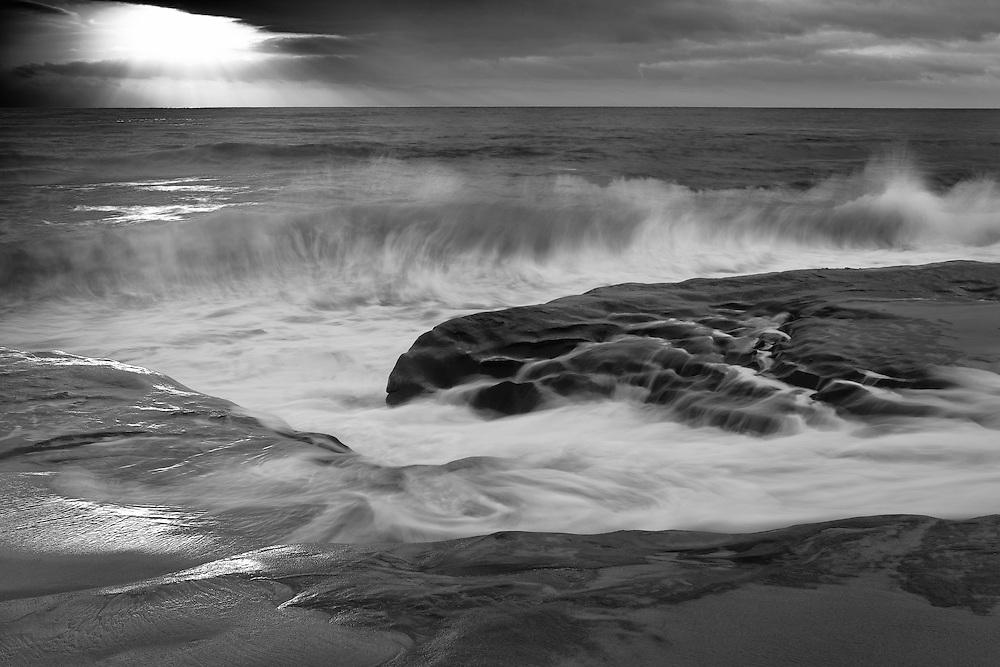 Crashing Wave At High Tide La Jolla Shoreline Sunset Black