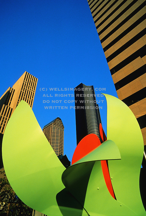 Image of downtown buildings with colorful sculpture in foreground, Seattle, Washington, Pacific Northwest