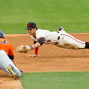 15 April 2018: San Diego State third baseman Casey Schmitt (8) dives to the bag to double up Fullerton after catching a line drive ending the inning and stranding runners on base. The San Diego State baseball team closed out the weekend series against Cal State Fullerton with a 9-6 win at Tony Gwynn Stadium. <br /> More game action at sdsuaztecphotos.com