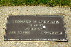 Hittle Grove Cemetery near Armington in Tazwell County.<br /> <br /> Leonard M Cremeens  US Army  World War I  Apr 25, 1896 - Nov 20, 1990