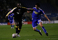 Photo: Steve Bond.<br /> Leicester City v Cardiff City. Coca Cola Championship. 26/11/2007. Jimmy Floyd-Hasselbaink, (L) holds off Alan Sheehan (R)