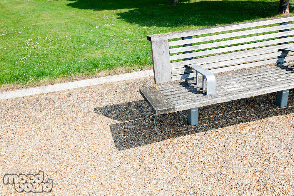 Close-up view of Wooden bench in London Park