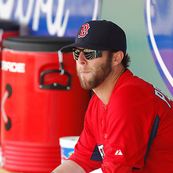 February 28, 2011; Fort Myers, FL, USA; Boston Red Sox second baseman Dustin Pedroia (15) during a spring training exhibition game against the Minnesota Twins at City of Palms Park.  Mandatory Credit: Derick E. Hingle