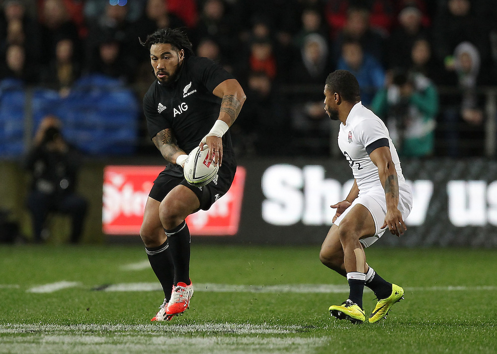 New Zealand's Ma'a Nonu is challenged by England's Kyle Eastmond in an International Rugby Test match, Waikato Stadium, Hamilton, New Zealand, Saturday, June 21, 2014.  Credit:SNPA / David Rowland