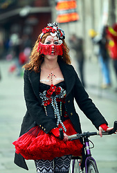 17 Feb 2015. New Orleans, Louisiana.<br /> Fat Tuesday. Mardi Gras Day. Faces in the crowd. A reveler dressed in costume for the day.<br /> Photo; Charlie Varley/varleypix.com
