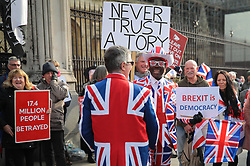 © Licensed to London News Pictures. 31/10/2019. London, UK. Brexit supporters gather outside Parliament on 31 October 2019, the previous deadline for Brexit. MPs have voted for a December general election in order to break the deadlock in parliament over Brexit. Photo credit: Rob Pinney/LNP