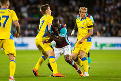 Enner Valencia of West Ham, Gaber Dobrovoljc of NK Domzale and Zeni Husmani of NK Domzaleduring 2nd Leg football match between West Ham United FC and NK Domzale in 3rd Qualifying Round of UEFA Europa league 2016/17 Qualifications, on August 4, 2016 in London, England.  Photo by Ziga Zupan / Sportida