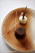Travel Shanghai Story     Shanghai, China- Warm chocolate fondant with vanilla and chocolate chip ice cream from the Whampoa Club restaurant at Three on the Bund in Shanghai.   (Suarez, Essdras M/Globe Staff) Travel/ Tom Haines..
