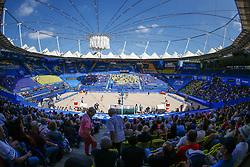 20190628 DEU: World Champs Hamburg 2019: Hamburg<br /> L-R L-R Marleen van Iersel (NED,1), Joy Stubbe (NED,2), Kerri Walsh Jennings (USA,1), Brooke Sweat (USA,2), Overview Red Bull Beach Arena, Hamburg<br /> ©2019-FotoHoogendoorn.nl / Pim Waslander