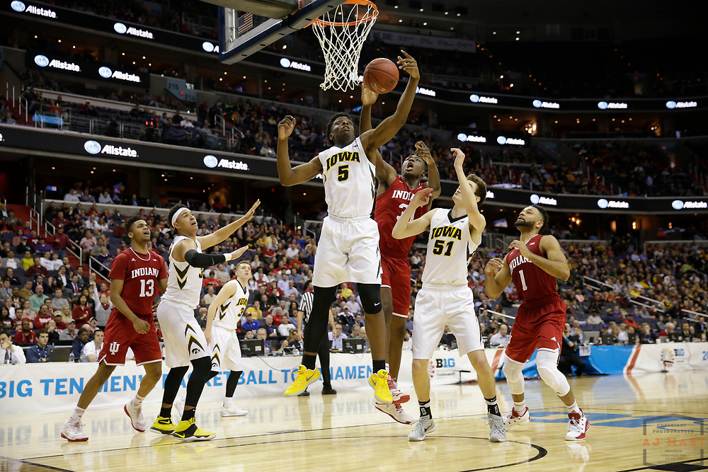 Iowa forward Tyler Cook (5) in action as Indiana played Iowa in an NCCA college basketball game in the second tournament in Washington, D.C., Thursday, March 9, 2017. (Photo by AJ Mast)
