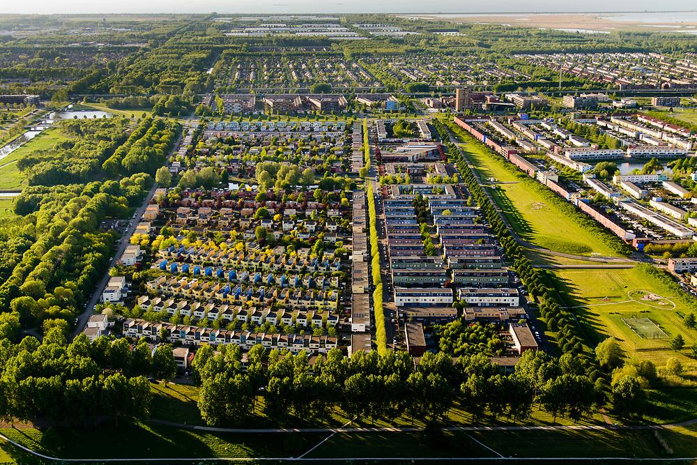 Nederland, Flevoland, Almere, 07-05-2018; Almere Buiten Oost, Regenboogbuurt, kleurrijke buurt.<br /> Rainbow neighbourhood, colorful neighborhood.<br /> <br /> luchtfoto (toeslag op standard tarieven);<br /> aerial photo (additional fee required);<br /> copyright foto/photo Siebe Swart