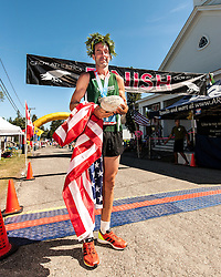 Great Cranberry Island Ultra 50K road race: Brian with winner's trophies
