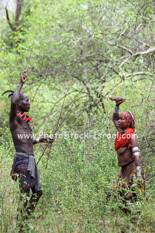 Hamar tribe couple Omo River Valley, Ethiopia